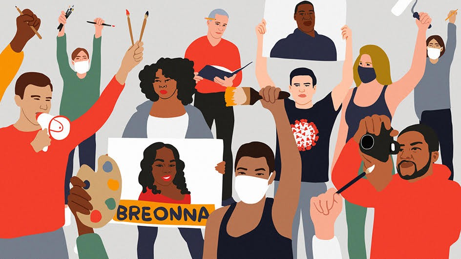 An illustration by Julie Winegard of people protesting, holding up signs, megaphones and and art supplies.