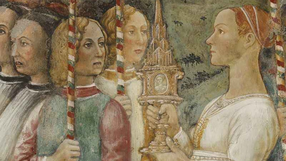 A colorful fresco of five people.
