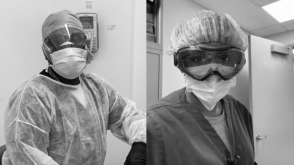 Two black and white photos of health care workers in personal protective equipment
