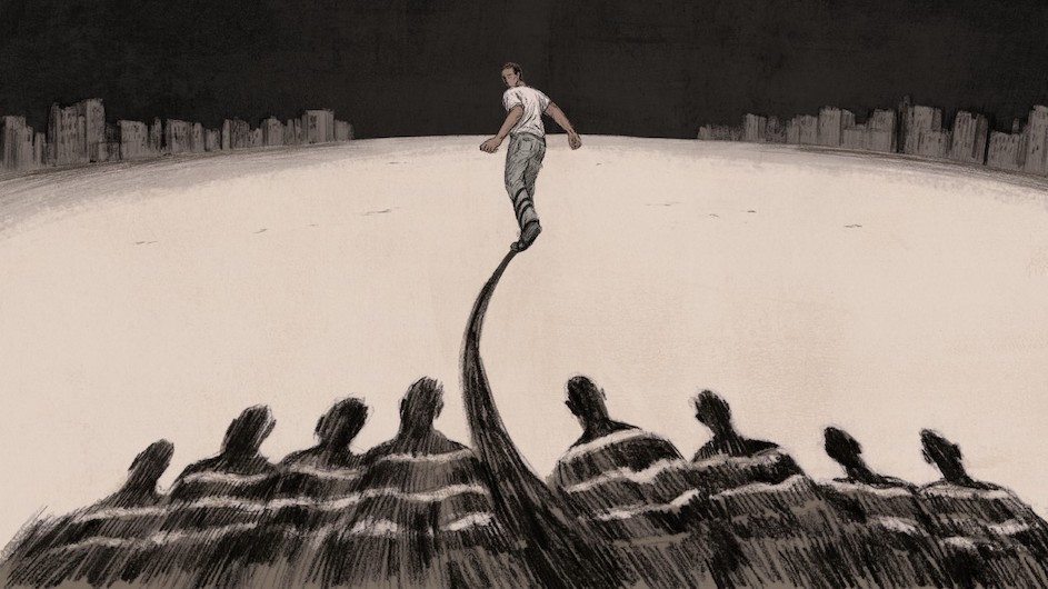 An illustration of a man running away from people watching him