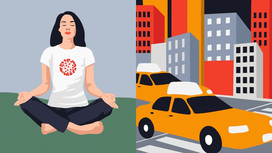 An illustration of a woman meditating on the left, and a taxi with buildings on the right.