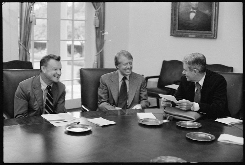 Zbigniew Brzezinski, Jimmy Carter and Cyrus Vance in the White House.