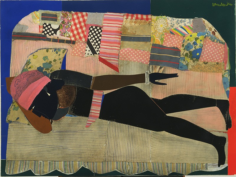 A collage features a feminine figure constructed with brown and black paper lying prone on a patchwork quilt-covered sofa