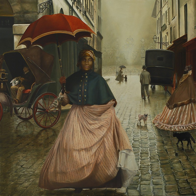 A painting depicts a brown-skinned woman wearing mid-1800s clothing and carrying a parasol, standing on a cobblestone street amid horse carriages