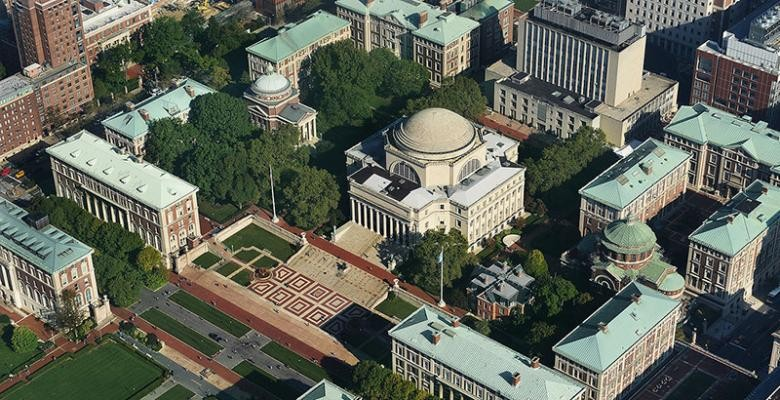aerial shot of Morningside Campus at Columbia University