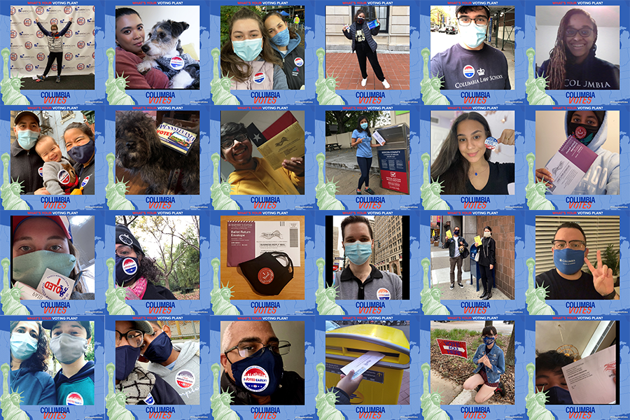 "A collage of diverse faces posing with ""I Voted"" Stickers."