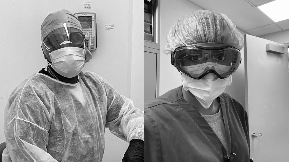 Two black and white photos of health care workers in scrubs and PPE.