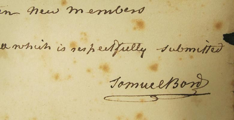 aged paper from early 1800's with the signature of Samuel Bard