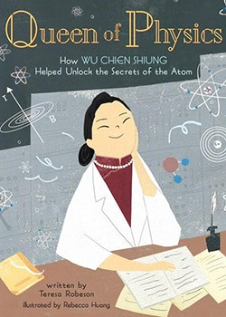graphic of smiling Asian woman with black hair, pearls and white lab coat - it's a book cover