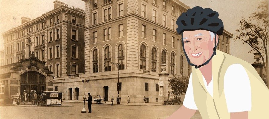 A cartoon illustration of Ken Jackson wearing a helmet and riding a bike in front of an archival photo of Morningside Campus.