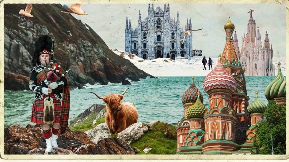 Collage of mountains and sea with British Queens Guardsman with bagpipes and colorful castles in background