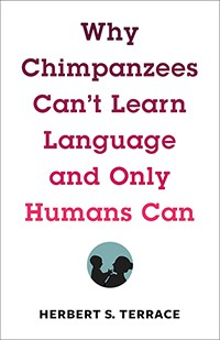 White book cover with red writing and circle with silhouette of man and chimpanzee
