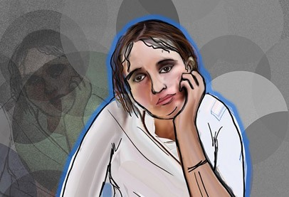 woman with stringy brown hair and white shirt, an animation with hand resting on chin with bored expression, silhouetted in blue on grey background
