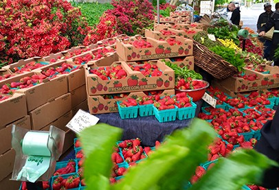 red strawberries in crates, green plants in baskets at farmer's market where people walk by