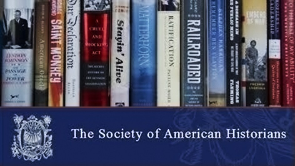 "Books stacked side by side with a logo at the bottom that reads ""The Society of American Historians."""