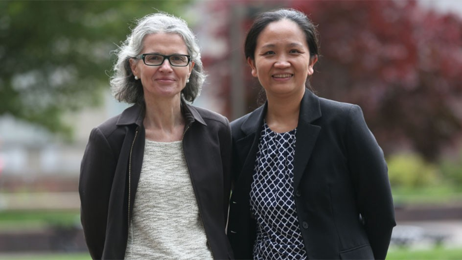 Maria Uriarte, left, and Tian Zheng bring ecology and data research together to mitigate the effects of climate change.
