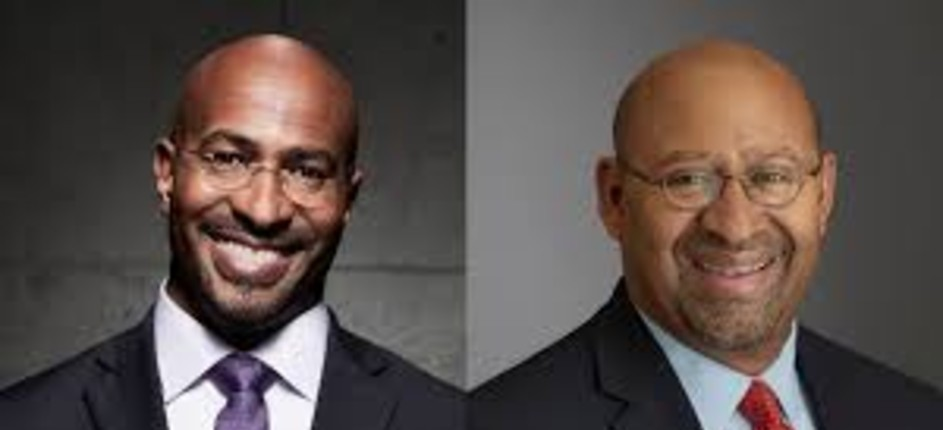 Side by side headshots of two bespectacled African American males smiling.