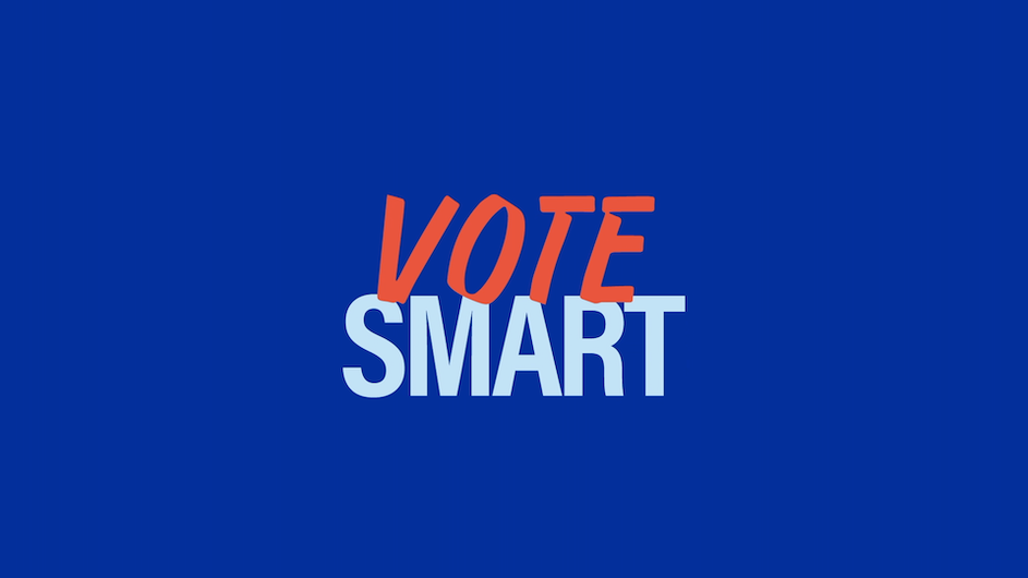 "The text ""Vote Smart"" on a blue background"