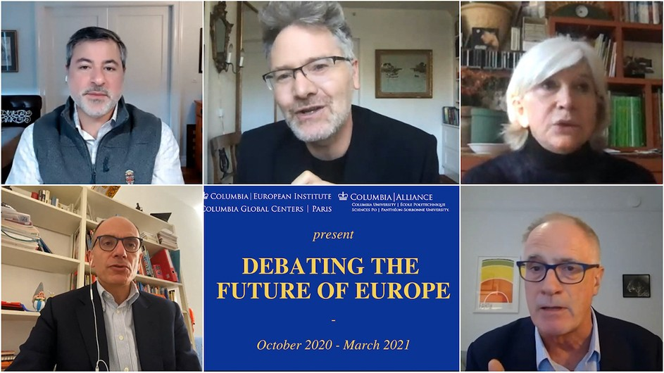 "A 6-photo Zoom like grid showing four men and a woman in discussion with a sixth image of a blue sign with gold text that says ""Debating the Future of Europe."""