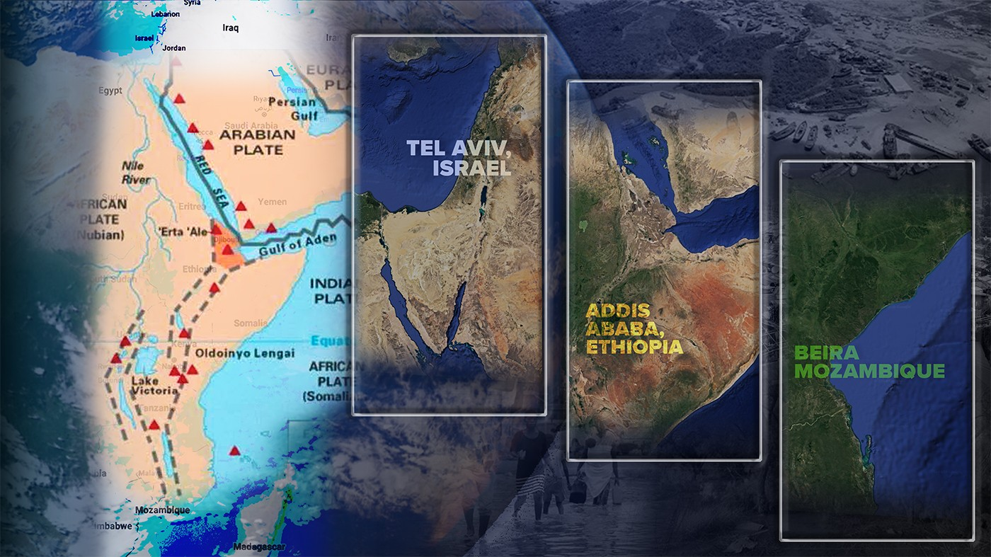 a map of the great rift valley and the cities tel aviv, addis ababa and beira.