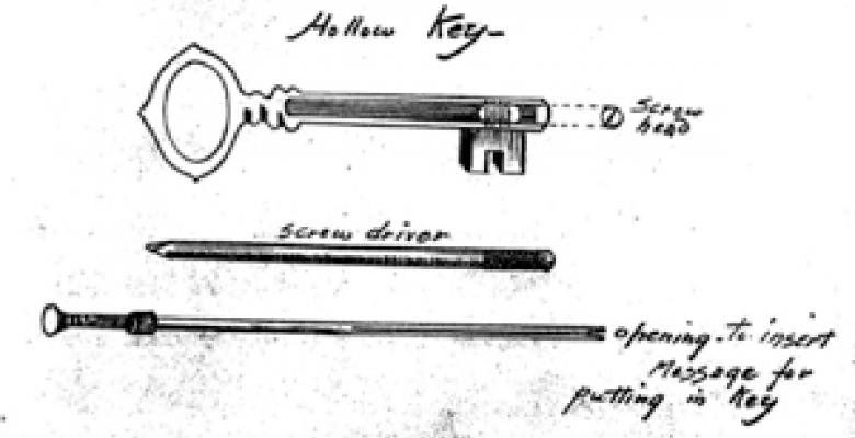 The schematic above, dated 1917, illustrates a top-secret method to smuggle information by rolling tissue-thin paper and slipping it into the barrel of the key. Such Mata Hari-era spy craft has long been obsolete, yet it remained classified until 1992.