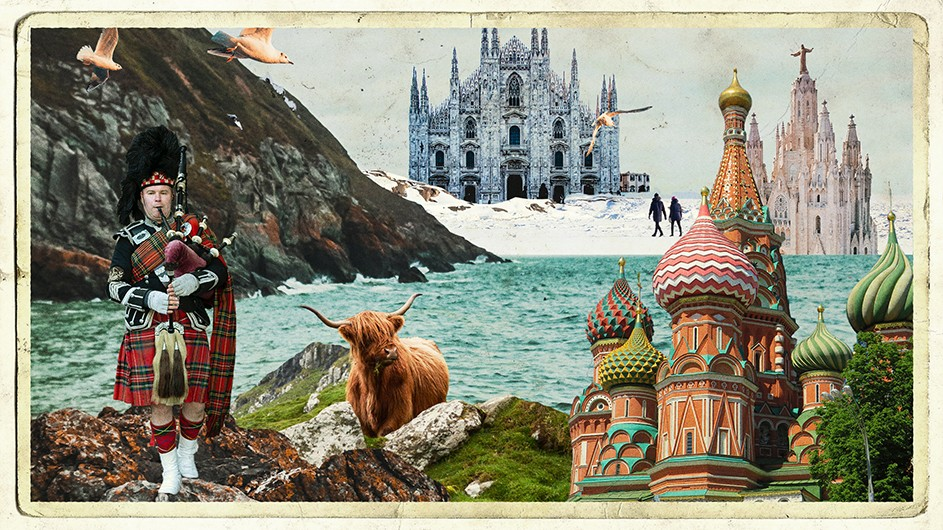 An illustration with a vintage postcard collage effect, with a bagpiper, animals, water, mountains, people, buildings.