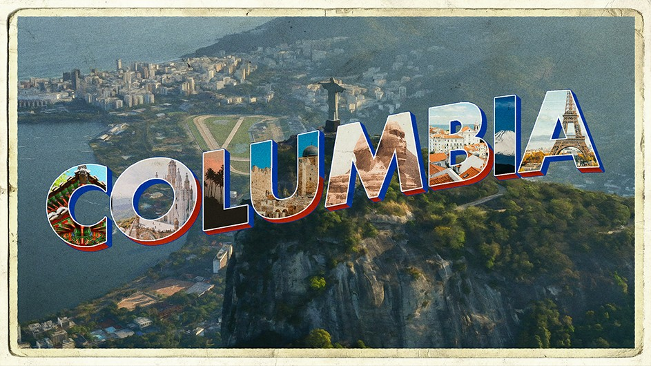 "The word ""Columbia"" set against a backdrop of Rio de Janeiro."