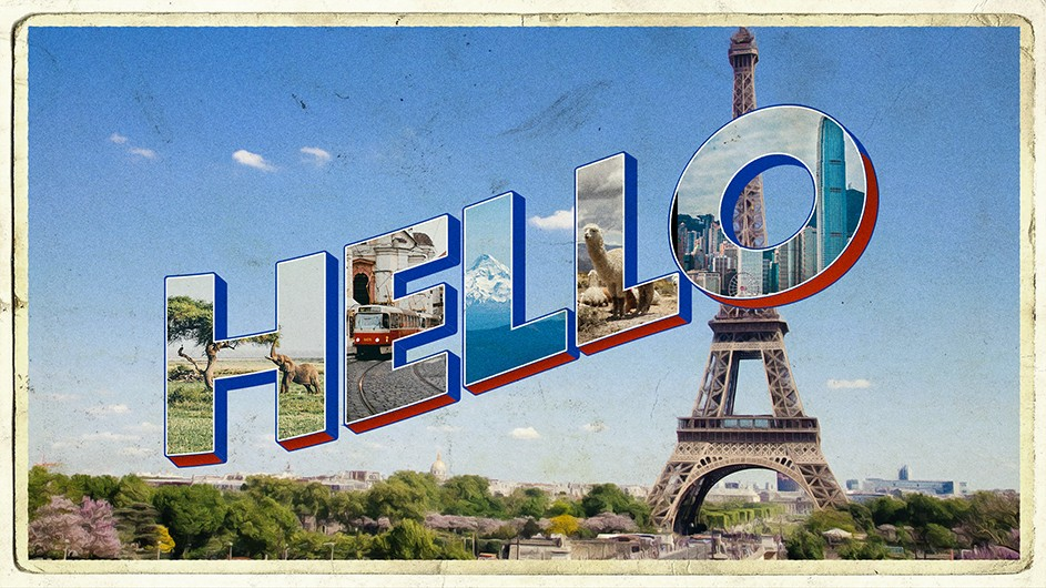 "Illustration of a vintage postcard with the word ""hello"" and the Eiffel Tower in the background."
