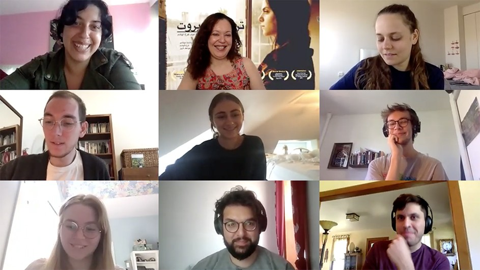 Nine people in their zoom boxes.