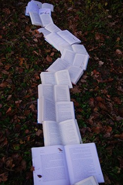 A winding line of open books on the ground of lawn and leaves.